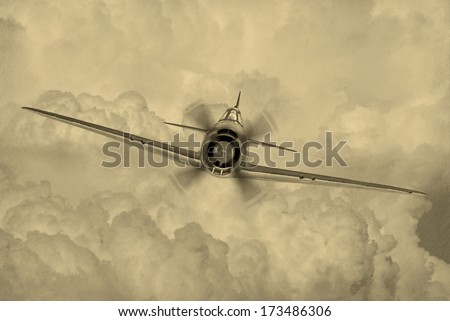 'Vintage style' image of World War 2 era fighter plane known as 'George' by the allies. - stock photo