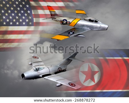 'Vintage style' Korean War aircraft digital illustration. USA vs Russian made vintage figheter jets. - stock photo