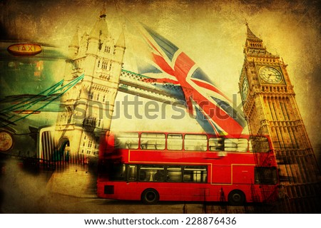 vintage textured collage of iconic symbols of London, UK