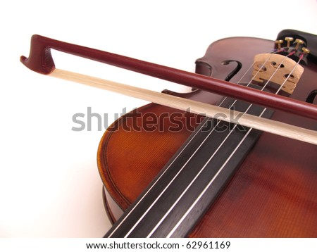 violin body and bow isolated on white background