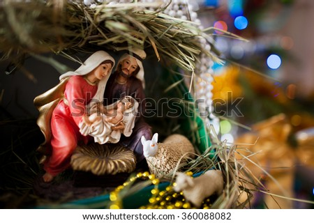 Virgin Mary gave birth to Jesus, and it lies in the crib, Christmas - stock photo