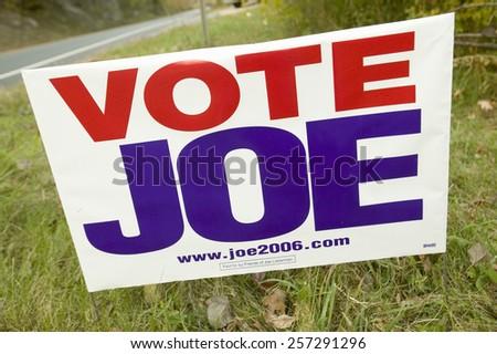"""Vote for Joe"" Lieberman for U.S. Senate sign in Connecticut - stock photo"