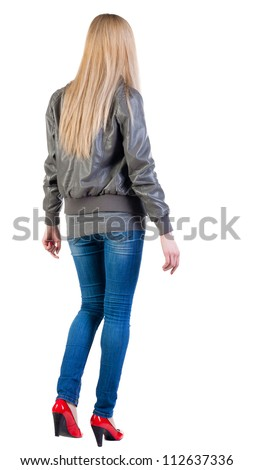 walking blonde woman. during a walk.  going girl back view . Rear view people collection.  backside view of person.  Isolated over white background. - stock photo
