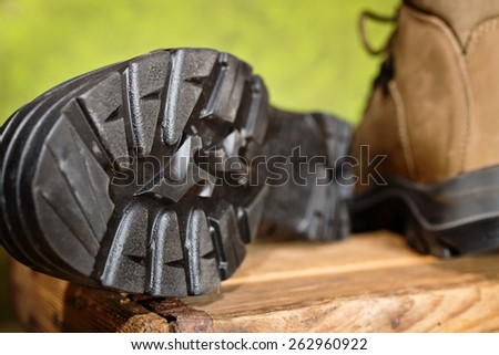 walking boots with grip sole - stock photo
