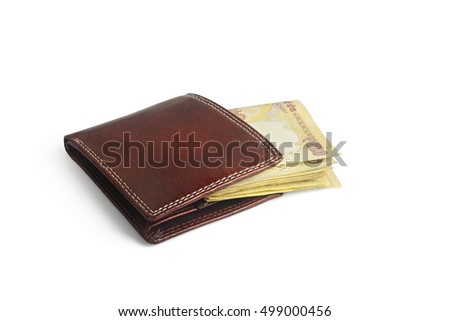 Wallet isolated white background with indian rupee