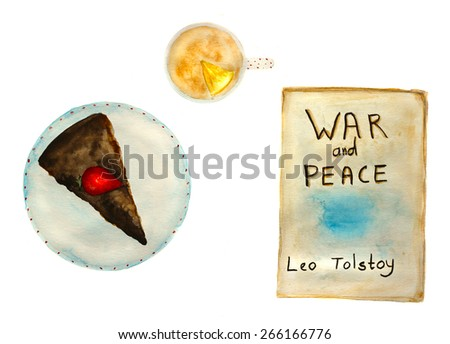 'war and peace' book, chocolate cake with strawberry and tea with lemon, hand-painted watercolor - stock photo