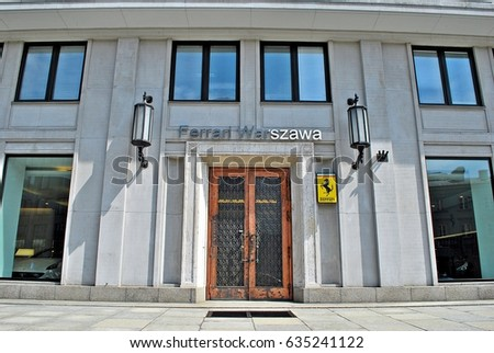 Warsaw,Poland. 6 May 2017. The logo of Ferrari at the entrance of the dealership building'