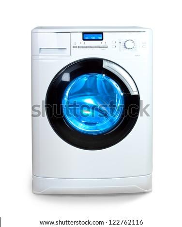 washing machine with  open door - stock photo