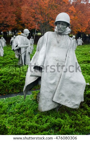 WASHINGTON DC - NOV 05: Korean War Veterans Memorial located in National Mall in Washington DC on NOV 5, 2015. The Memorial commemorates those who served in the Korean War.