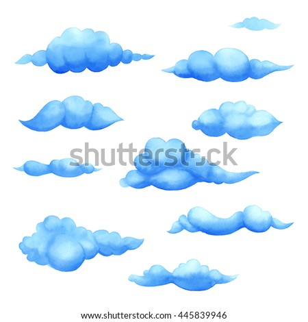 Watercolor cumulonimbus cloud set. Cartoon blue clouds on a white sky background. Set of isolated funny cartoon clouds, smoke and fog  icons, for filling your sky scenes  - stock photo