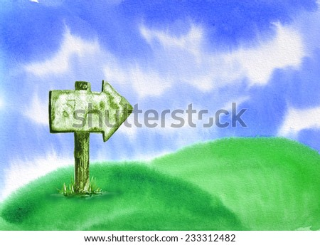 watercolor hand painted Wooden sign on sky background