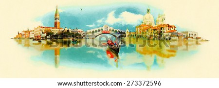 watercolor illustration panoramic venice view - stock photo