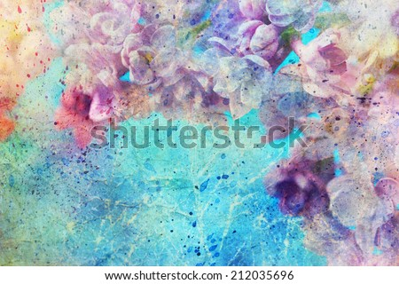 watercolor splatter and beautiful lilac flowers - stock photo