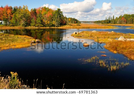 Waterway winding through a wetland in New England. Near Bar Harbor, Maine, Beautiful autumn foliage casts a brilliant reflection in the water. - stock photo