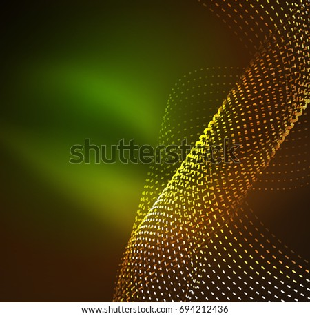 wave particles background - 3D illuminated digital wave of glowing particles. Futuristic and technology illustration, HUD modern element