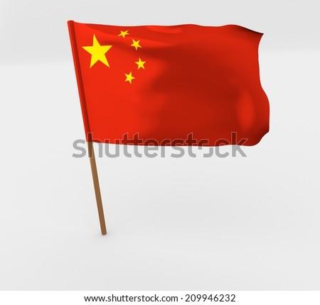 waving china flag on the flag pole - stock photo