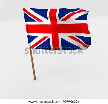 waving United Kingdom flag on the flag pole - stock photo