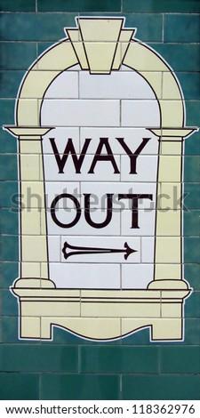 """Way out"" sign in the London Underground - stock photo"