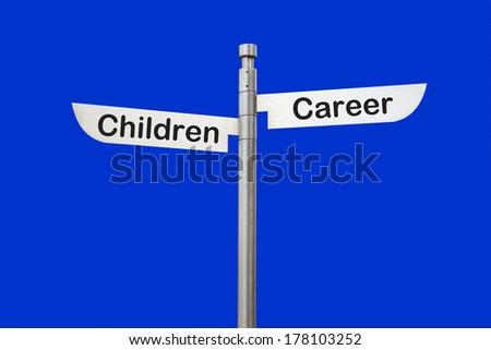 2 way sign children career choice - stock photo