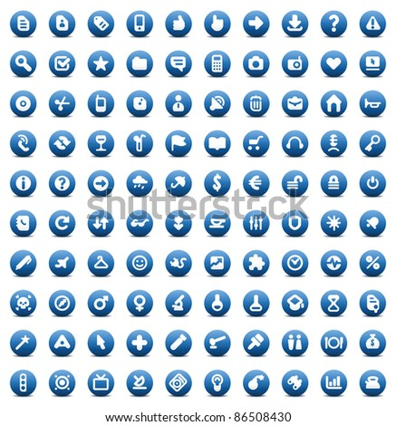 100 web, business, media and leisure icons set. Blue buttons. Raster version. Vector version is also available. - stock photo
