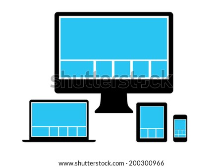 Web design in simple icons electronic devices. Raster version