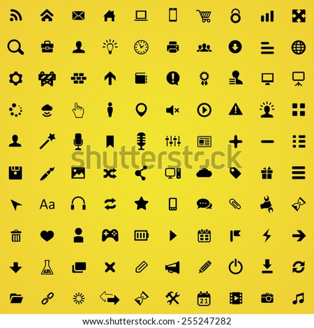 100 webdesign icons, black on yellow background