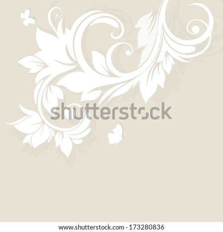 Wedding card or invitation with abstract flora background. Greeting card. Elegance pattern with flowers in vintage style.Card for mothers day.