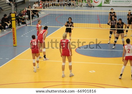"""WEGIERSKA GORKA"", POLAND - OCTOBER 5: sparring, National Team of Poland vs Japan 1st league team ""Denso Airybees"", october 5, 2010 in Wegierska Gorka, Poland"