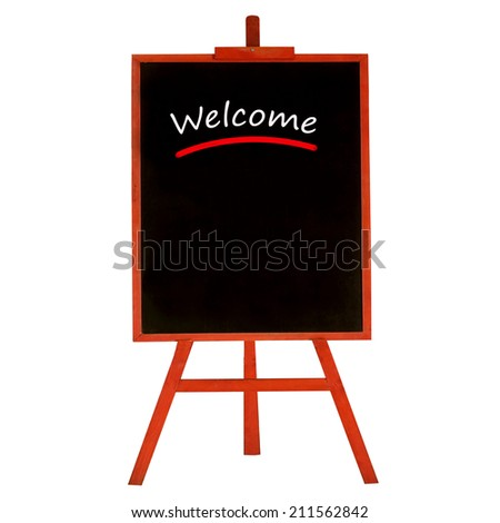 """""""WELCOME"""" Chalkboard, standing board isolate on white background. - stock photo"""