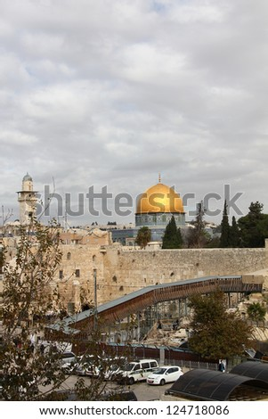 Western Wall an important jewish religious site.  Jerusalem, Israel - stock photo
