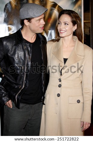"""11/05/2007 - Westwood - Brad Pitt and Angelina Jolie attend the Los Angeles Premiere of """"Beowulf"""" held at the Mann Village Theater in Westwood, California, United States.  - stock photo"""