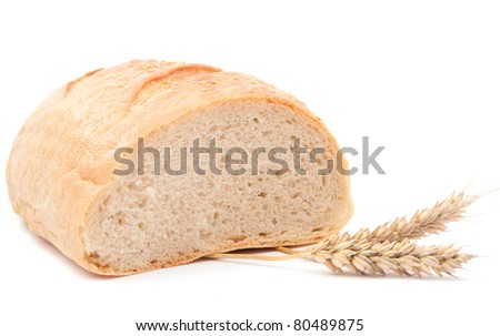 wheat bread over white background