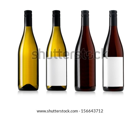 white and red wine bottles set isolated on white - stock photo