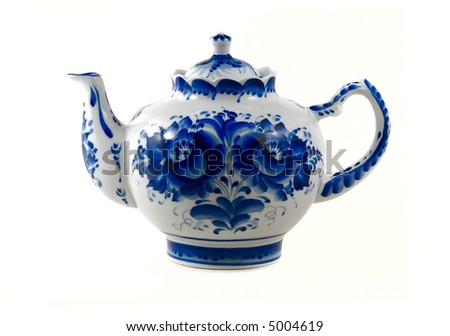 white  brewing teapot  decorated with blue patterns isolated on white - stock photo