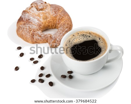White cup of coffee and croissant isolated on white background