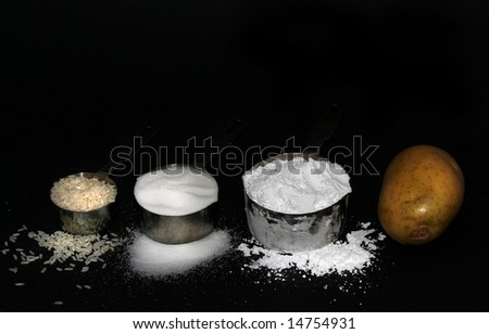 """White death"" according to most nutritionists--white rice, white sugar, white flour, and white potatoes."