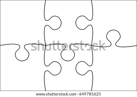 6 white material design pieces arranged stock illustration 6 white material design pieces arranged in a square jigsaw jigsaw puzzle blank template pronofoot35fo Choice Image