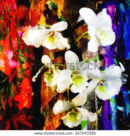 White orchid flowers on grunge striped and stained colorful background       - stock photo