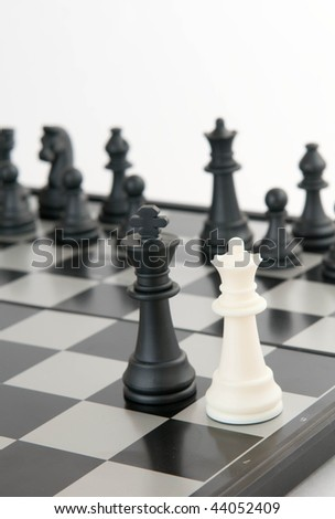 white queen and black king - stock photo