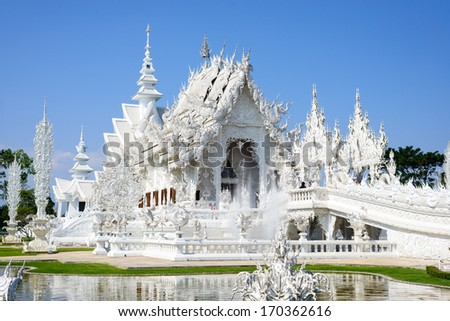 White temple or Wat RongKhun  in Chiangrai Province, Thailand - stock photo