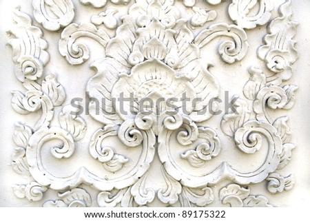 White thai art stucco wall,Thai temple - stock photo