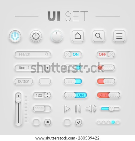 white UI set. High quality design elements
