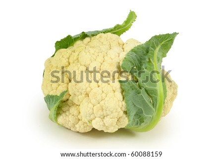 Whole Cauliflower on white background