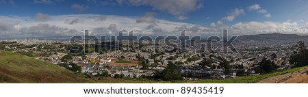 Wide panoramic city view - San Francisco - stock photo