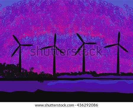 wind turbine sunset background ecosystem for design  - stock photo