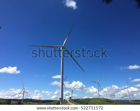 Wind turbines generating electricity