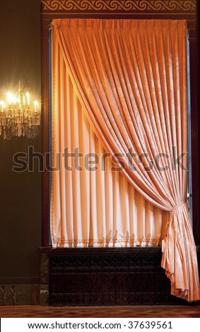 Window curtain with an ornament - stock photo