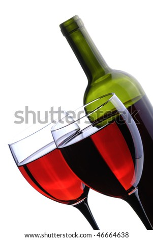 wine bottle and glass on the white background
