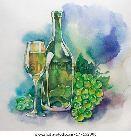 Wine glasses and bottles of wine. Watercolor painting. - stock photo