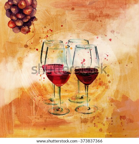 'Wine Tasting' poster with watercolor drawings of a bunch of grapes and four glasses of wine, on a textured golden artistic background; wine list cover design - stock photo